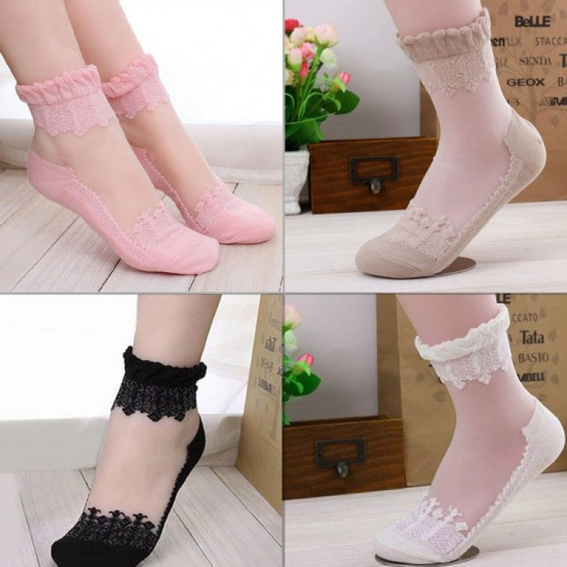 Transparent Lace Socks for Women (Black, White, Pink, Skin)