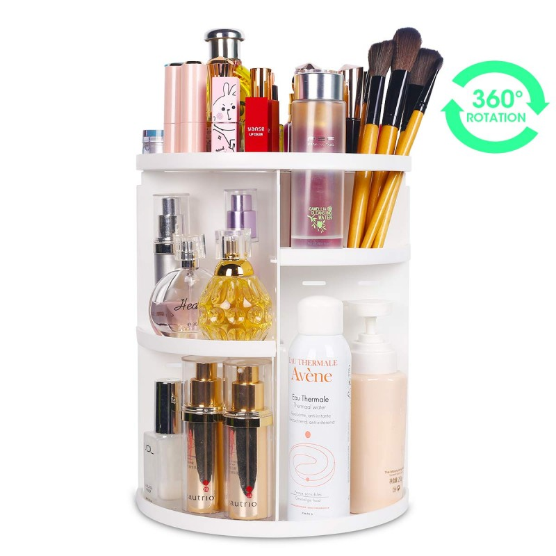 White Rotating Make up Organizer
