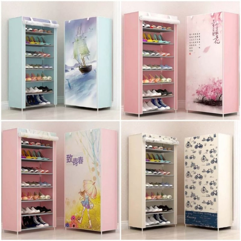 7 Layer Multi Layer Printed Covered Shoe Rack