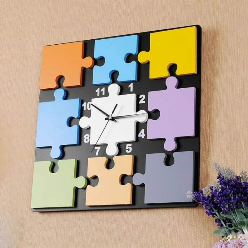 Puzzle Clock Colorful