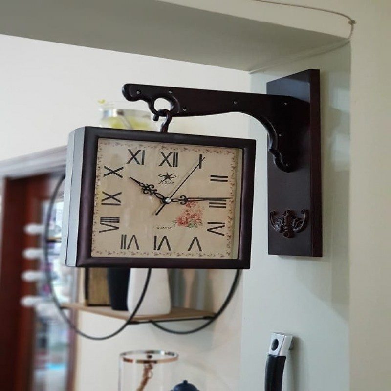 Double Sided Wooden Square Clock