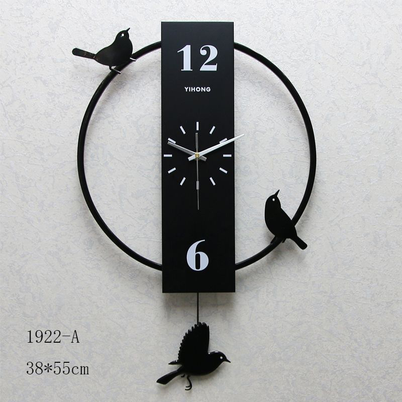 Black Bird Round Wall Clock (1922-A)