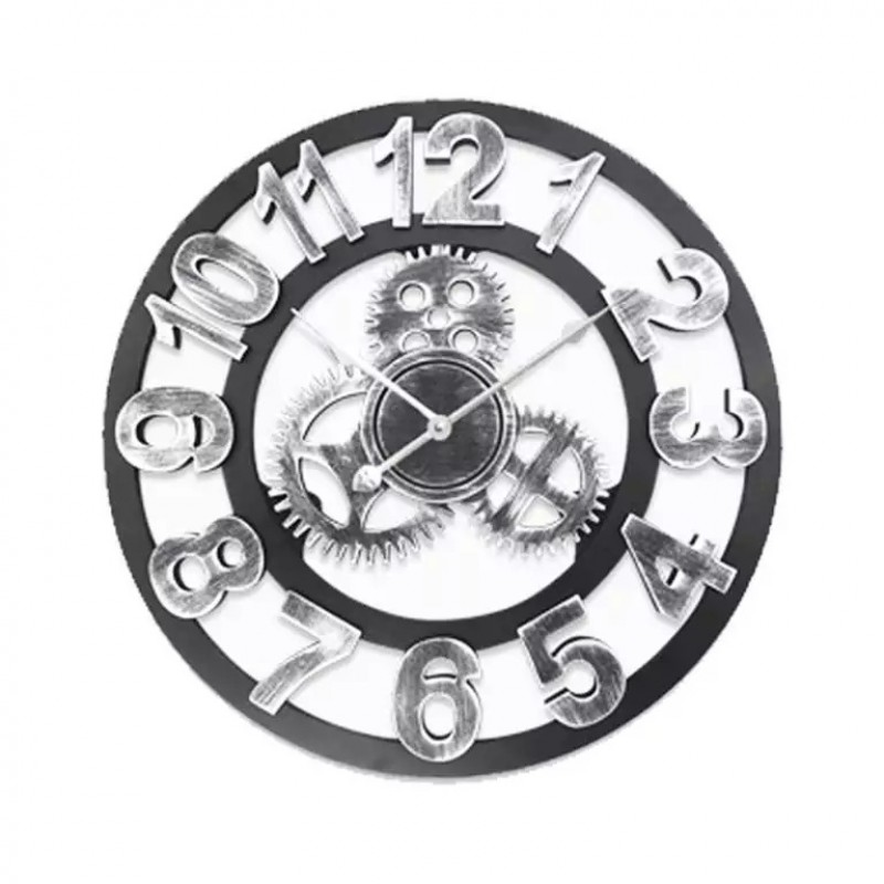 Number Wall Clock (Silver/Black)