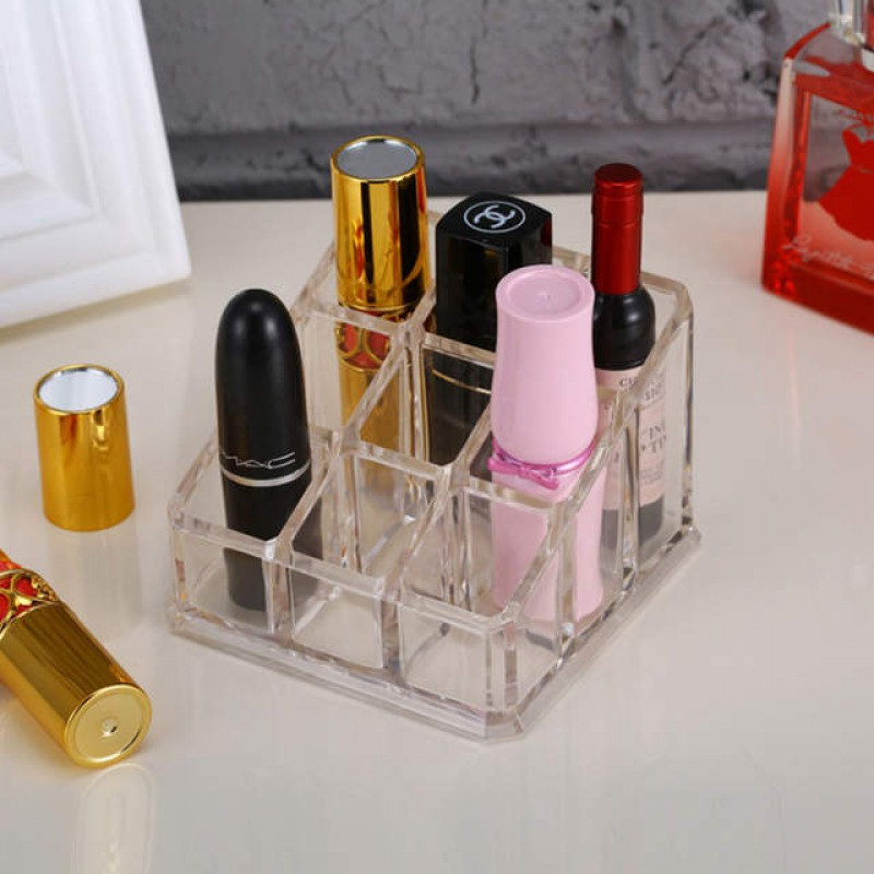 Acrylic Crystal Lipstick Organizer with 9 Grids Store