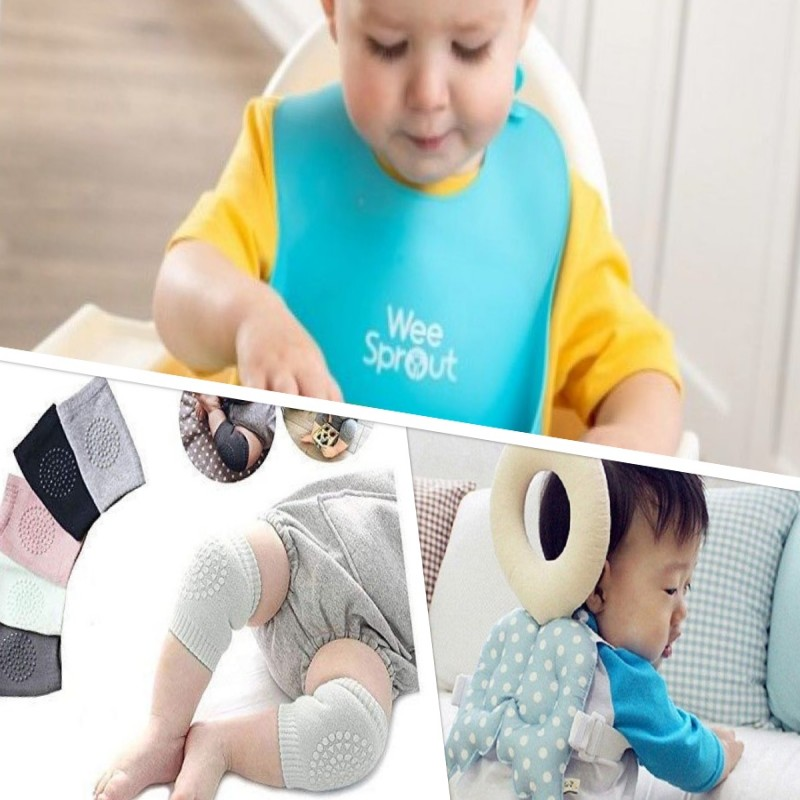 Combo # 2 - Pack of 3 (3 Pairs Baby Knee Pad, 1 Silicon Bib, 1 Old Angel Head Protector)