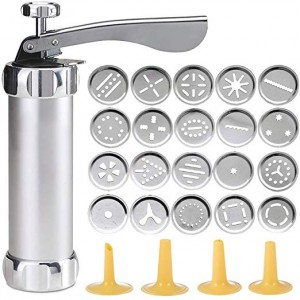 Stainless Steel Cookie Press - With 20 Discs & 4 Nozzle