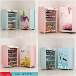 5 Layer Multi Layer Printed Covered Shoe Rack