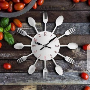 Spoon Fork Wall Clock (STAINLESS STEEL MATERIAL)
