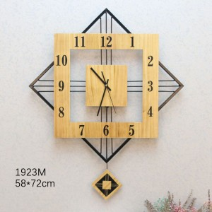 Wooden Square/Triangle Wall Clock (1923M)