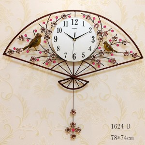 Hand Fan Style Wall Clock (1624D)