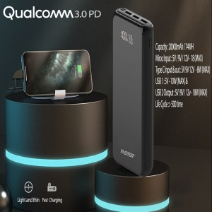 FASTER PD-24W PD+Qualcomm Quick Charge 3.0 Power Bank 20000 mAh with Digital Display
