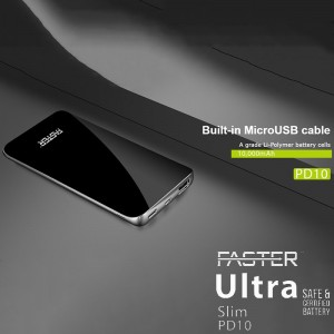 FASTER PD-10 Ultra Slim Power Bank 10000 mAh Quick Charge 3.0